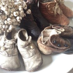 Victorian Baby Shoes, Collection, french, Antique, Leather.