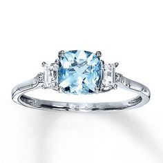 cute! Aquamarine Ring With Sapphires & Diamonds 10K White Gold (for a just because or anniversary!)