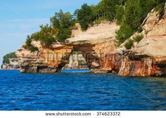 Arch in Pictured Rocks National Lakeshore on the Lake Superior shoreline, Michigan, USA.
