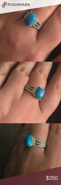 Make an offer 🎉💍 David Yurman Turquoise Wheaton Gorgeous david yurman ring petite Wheaton turquoise size 7.75. Excellent condition. Authentic david yurman. Real diamonds. So pretty!!! David Yurman Jewelry Rings