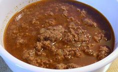 Texas Chili - think this is about the lowest carb count one can get on chili (no tomatoes, using a no-sugar added tomato sauce, 4 net carbs per serving. This is a thin chili, good and spicy. No Carb Recipes, Atkins Recipes, Chili Recipes, Diet Recipes, Cooking Recipes, Cooking Chili, Low Carb Chili Recipe, Bariatric Recipes, Soup Recipes