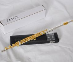 Top Quality Silver Gold Plated Flute 17 Open Holes B Foot Italian Pads With Case #Unbranded #Flute