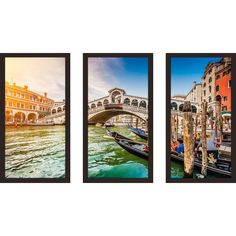 Picture Perfect International Rialto Bridge at sunset in Venice' Framed Plexiglass Wall Art