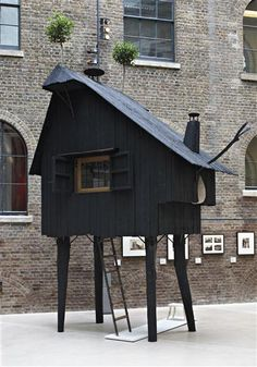 Someday will build my own treehouse, clad in wood clapboards finished by SHou-sugi-ban charcoal technique. TERUNOBU FUJIMORI  'Beetle's House', 2010