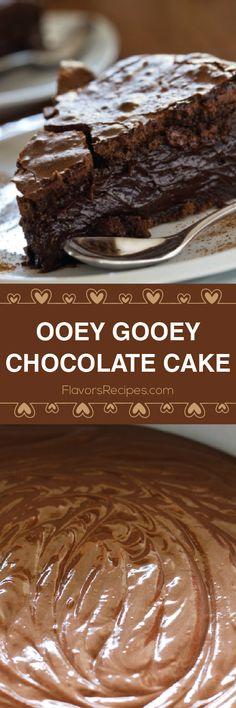 Oohey Gooey Chocolate Cake - Flavors Recipes (minus the coffee) Gooey Chocolate Cake, Semi Sweet Chocolate Chips, Chocolate Desserts, Ooey Gooey Butter Cake, Chocolate Cake Mix Recipes, Death By Chocolate Cake, Sweet Recipes, Cake Recipes, Dessert Recipes