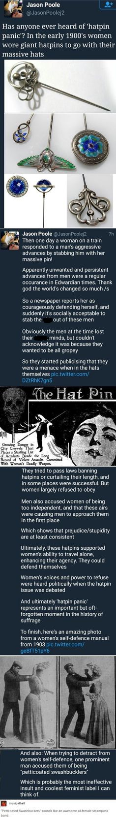The hatpin panic and petticoated swashbucklers