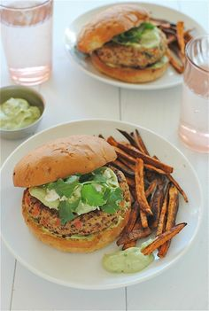 Chicken-quinoa burgers with an avocado-yogurt sauce - can bake instead of pan frying.