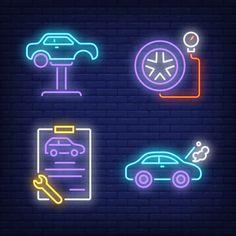 Carro no elevador automático, prancheta . Car Advertising, Advertising Design, Banners, Instagram Symbols, Lifted Cars, Vector Photo, Clipboard, Vector Free, Neon Signs