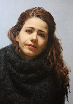 """Flooded"" - Cesar Santos (Cuban, b. 1982) oil on linen, 2009 {figurative expressionist realism art beautiful female head woman painting #loveart #2good2btrue} santocesar.com"