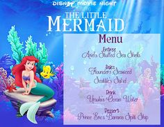 Disney Movie Night: The Little Mermaid with FREE menu printable. The night is all planned out with recipes, crafts, decoration ideas and activities for your next family movie night!