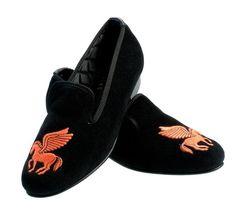 Pegasus Motif Embroidered Velvet Slipper