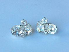 Weiss Clear Pear Rhinestone Earrings  Wedding Ready by junquegrl