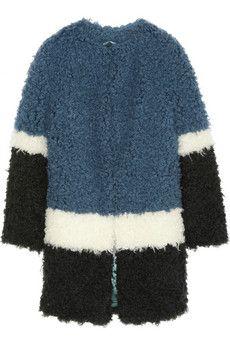 Shrimps Plum color-block faux shearling coat | NET-A-PORTER