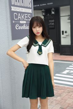 1d5494f17e682 High Quality Girl Japanese Uniform Sailor School Uniform Set Plus Size XL  White-Green Skirt Short Sleeve Shirt