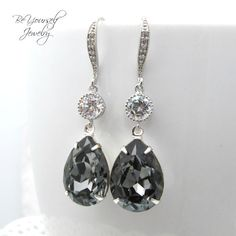 Dark Grey Earrings Swarovski Crystal Silver by BeYourselfJewelry, $39.99
