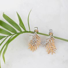 Double palm leave studs Handmade Sterling Silver, Sterling Silver Jewelry, Silver Earrings, Stud Earrings, Studs, Palm, Jewelry Design, Delicate, Stud Earring