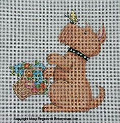 Hand-painted Needlepoint Canvas ~ Butterfly Scottie – Mary Engelbreit Studios