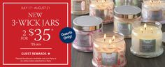 Guest Rewards - New Signature 3-Wick Jars - Click for details!