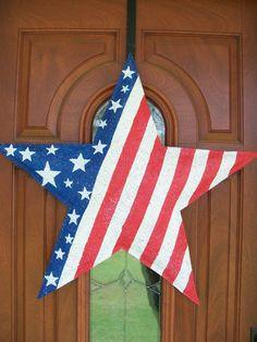 American Flag Star Burlap Door Hanger by AllUniqueThings on Etsy, $25.00