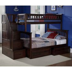 ♥ ♥ Columbia Staircase Bunk Bed w/ Flat Panel Drawers - Twin Over Full ♥ ♥ - Discovered at www.dcgstores.com...