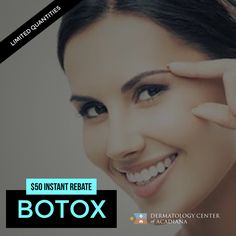 💆🏻 Come in for Botox and receive  a $50 instant rebate! 📞 Quantities are limited: give us a call today at (337) 235-6886 for more details and to make your appointment!