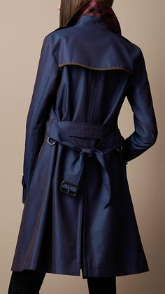 Burberry Long cotton gabardine suede detail tranch coat