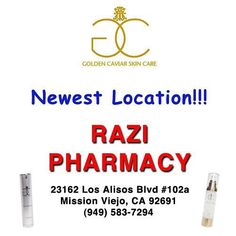 Our newest location for your convenience, Grab all your favorite items at Razi Pharmacy in Mission Viejo next to Ranch Market . #RaziPharmacy #GoldenCaviarSkinCare #GCSC #Pharmacy #TheOriginalCaviarSerum