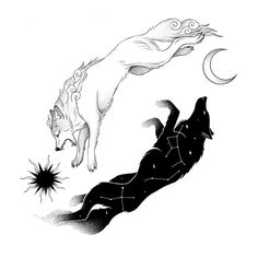 Sköll and Hati ? The two wolves who chase the sun and the moon endlessly through the sky forcing them to rise and set on time. Wolf Tattoos, Cute Tattoos, Body Art Tattoos, Tattoo Drawings, Sleeve Tattoos, Wolf And Moon Tattoo, Simple Wolf Tattoo, Circle Tattoos, Key Tattoos