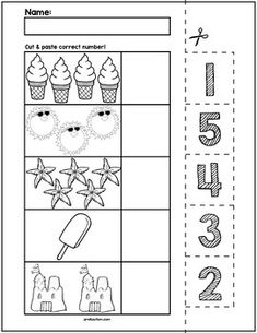 Teach counting skills with Summer Objects! Great for teaching counting skills and number recognition for numbers No prep and great for math centers! Preschool Writing, Numbers Preschool, Preschool Learning Activities, Learning Numbers, Preschool Printables, Numbers Kindergarten, Summer Worksheets, Kindergarten Math Worksheets, Worksheets For Kids