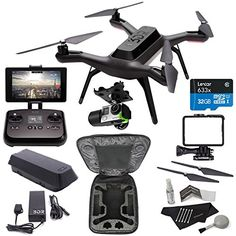 3DR Solo Drone Quadcopter + 3D Robotics GB11A 3DR Solo Gimbal + PP11A 3DR Solo Propeller Set + 3DR Protective Backpack Case + Lexar microSDHC 633x 32GB UHS-I/U1 + Polaroid Camera Cleaning Kit Bundle Ritz Camera