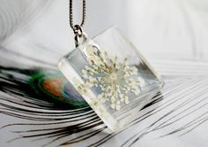 White Square Real Flower Necklace  Queen by NaturalPrettyThings, $25.00