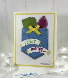 This Stampin' Up! Pocketful of Sunshine card was perfect for a recent color inspiration challenge and makes for a funtastic card/ gift card holder! Pocket Full Of Sunshine, Pocket Cards, Happy Birthday Cards, Color Inspiration, Stampin Up, Card Stock, Greeting Cards, Card Holder, Paper Crafts