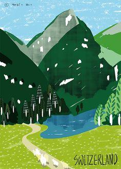 Switzerland,travel, traveling, trip, tour, journey,black,illustration,illust,illustrator,green,nature