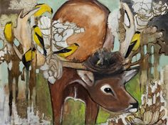 Joseph Bradley Bird and Deer Painting....I completely fell in love with this painting at the Brookside Art Annual.