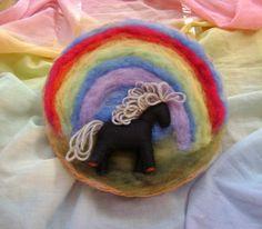 Wool needle felted rainbow picture    OOAK  Wool by softearthart, $30.00