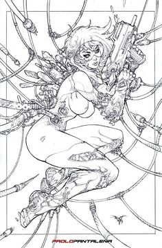 Ghost in the Shell - Motoko Kusanagi by Paolo Pantalena Character Design References, Character Art, Art Sketches, Art Drawings, Illustration Fantasy, Comic Style, Drawn Art, Desenho Tattoo, Cyberpunk Art