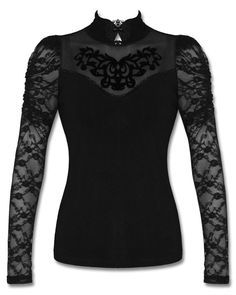 Punk Rave Black Gothic Steampunk Long Lace Sleeve Lorelei Lolita Tattoo Mesh Top #PunkRave #Casual