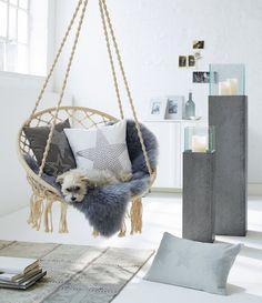 Hängesessel zum Aufhängen mit Sitzkissen - Bequemer Hängestuhl inklusive rundem Sitzkissen als optimale Alternative zur Hängematte