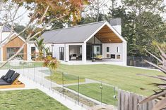 White plaster is contrasted with Western red cedar accents in the cladding for this home. Architecture Durable, Modern Barn House, Gable Roof, Gable House, Built Environment, Cladding, Exterior Design, Future House, House Plans