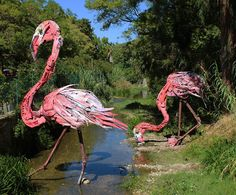 """Flamingo"" an installation by Bordalo II in Oeiras, Portugal. [Also see Bordalo II's ""Grabb It"" pinned to Street Art board. Bird Sculpture, Animal Sculptures, Land Art, Trash Art, Colossal Art, Unique Animals, Colorful Animals, Nature Animals, Recycled Art"
