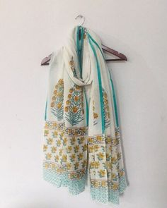 Excited to share this item from my shop: White Hand Block Print Cotton Dupatta - Long Scarf - scarves For Women Gifts For Women, Gifts For Her, Beach Wrap, Cotton Scarf, Summer Accessories, Mulberry Silk, Long Scarf, Silk Fabric, Paisley Print