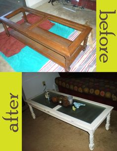 make an old coffee table pretty again. sand and paint wood, attach