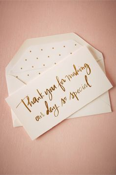 DIY Inspiration:gold foil pola dot lined envelope | Foil Script Thank You Card from @BHLDN