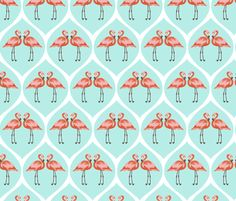 flamingos in ogee fabric by kristinnohe on Spoonflower - custom fabric