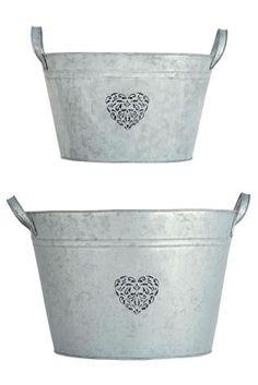 *NEXT    Set of 2 metal planters   Conjunto de 2 maceteros metálicos
