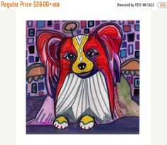 45% Off Today- Papillon art Tile Ceramic Coaster Mexican Folk Art Print of painting by Heather Galler dog