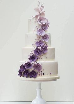 Pretty in purple wedding cake
