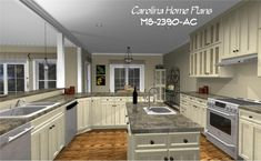 Open floor plan with spacious, fully equipped kitchen. Carolina Home Plan MS-2390-AC.