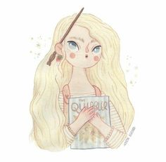 Luna by Kristin Askland - Harry Potter Illustration Harry James Potter, Harry Potter Fan Art, Harry Potter Characters, Harry Potter Hermione, Hogwarts, Harry Potter Cosplay, Cute Kawaii Drawings, Luna Lovegood, Cute Images