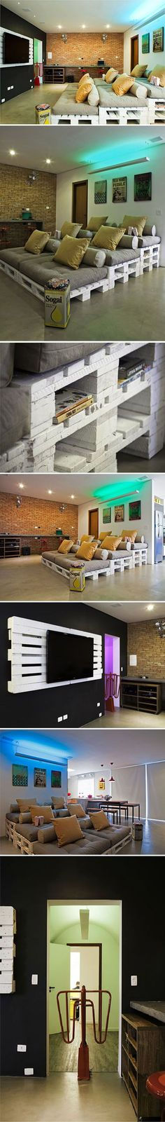 More ideas below: DIY Home theater Decorations Ideas Basement Home theater Rooms Red Home theater Seating Small Home theater Speakers Luxury Home theater Couch Design Cozy Home theater Projector Setup Modern Home theater Lighting System Home Theater Lighting, Home Theater Rooms, Home Theater Seating, Cinema Room, Home Theater Design, Cinema Cinema, Furniture Layout, Pallet Furniture, Pallet Sofa